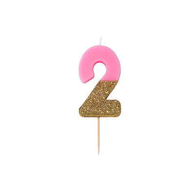 """We Heart Birthdays"" Pink Glitter Number Candle - Two, TT-Talking Tables, Putti Fine Furnishings"