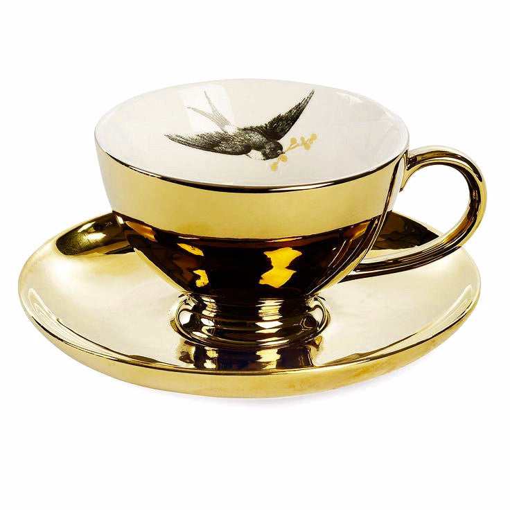Miss Etoile Gold Oversized Tea Cup with Bird, Miss Etoile, Putti Fine Furnishings