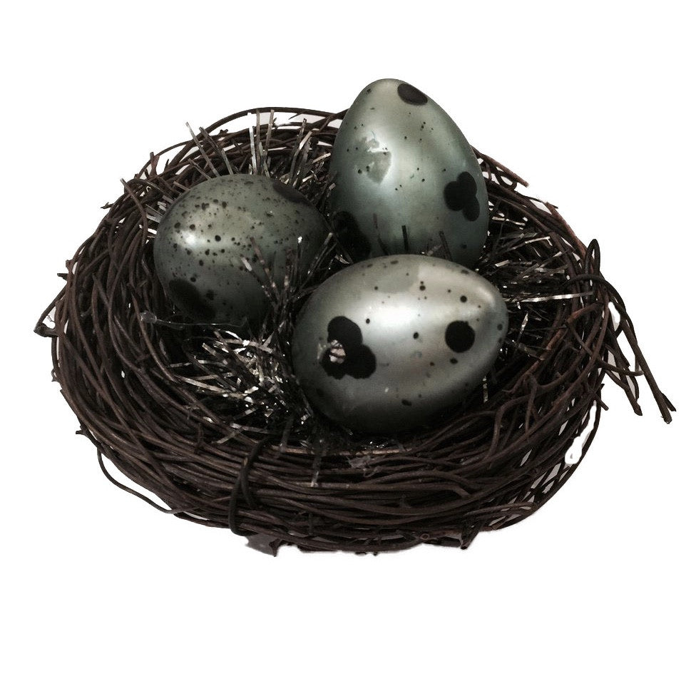 Natural Birds Nest with Glass Eggs Ornament -  Easter - Abbot Collection - Putti Fine Furnishings Toronto Canada - 1