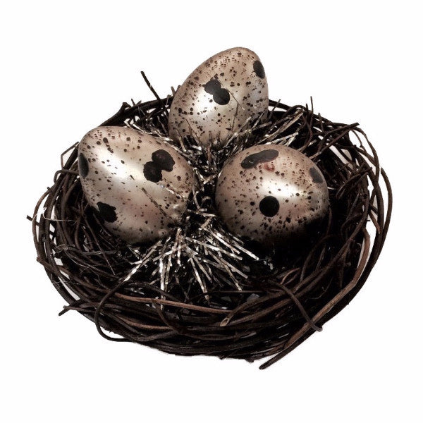 Natural Birds Nest with Glass Eggs Ornament