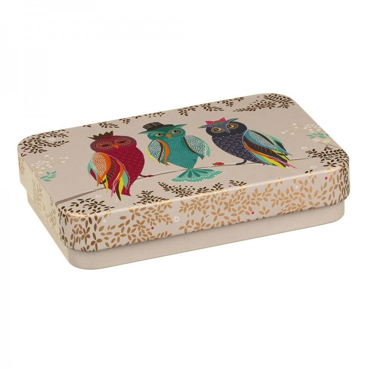 Sara Miller Small Rectangular Tin - Owls