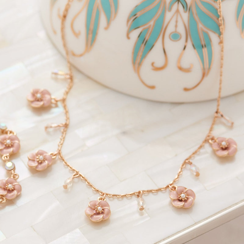 Lovett & Co. Small Rose Necklace in Pink Enamel