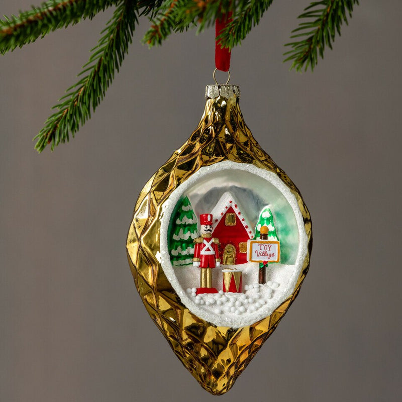 Mercantile Collection Toy Village Diorama Glass Ornament