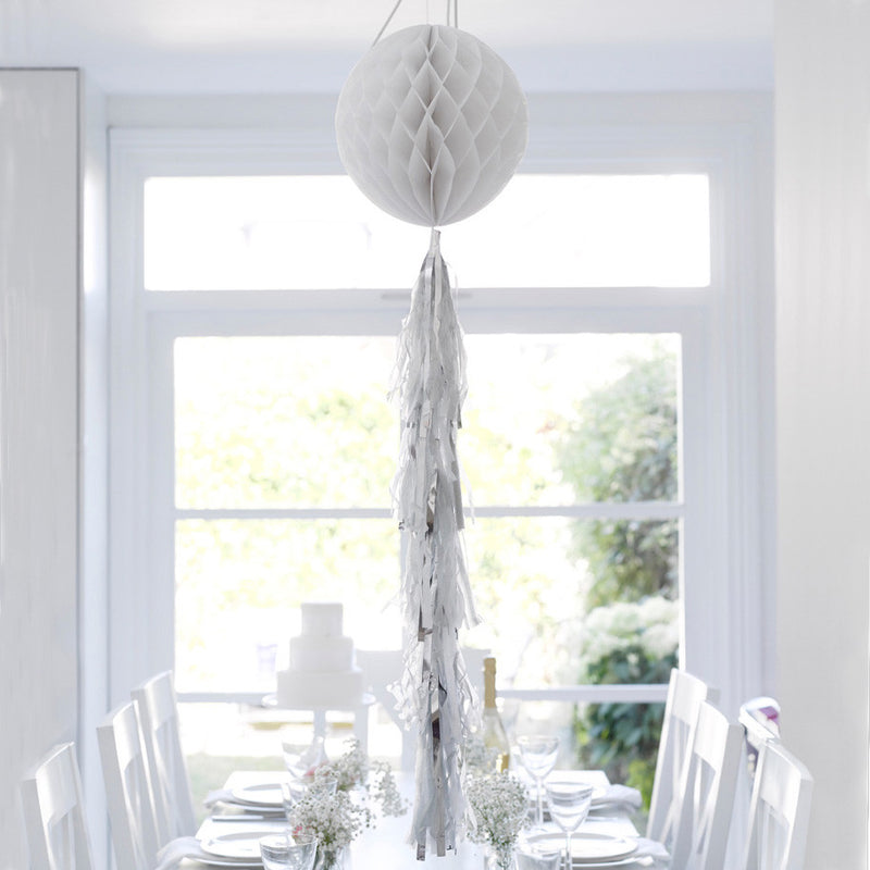 Decadent Decs Honeycomb Tasseled Decoration - White -  Decorations - Talking Tables - Putti Fine Furnishings Toronto Canada - 1