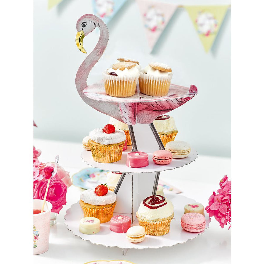 """Truly Flamingo"" Three Tier Cake Stand"