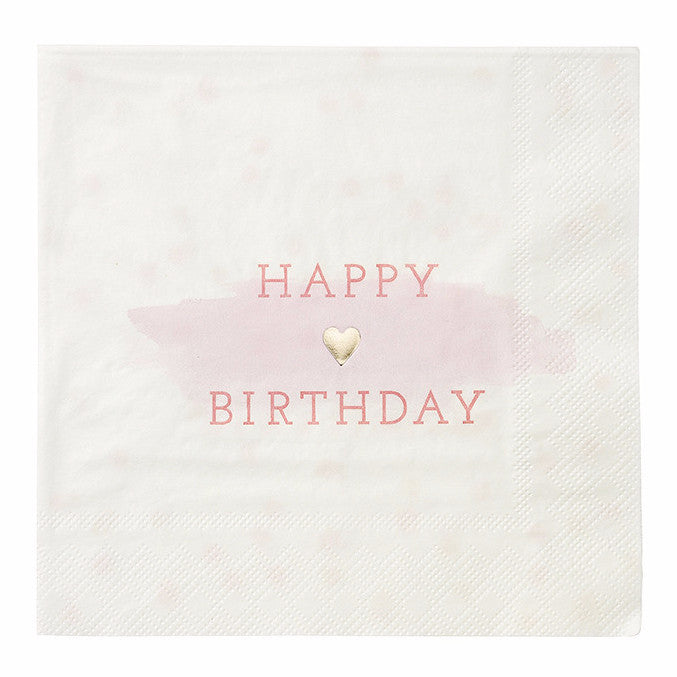 """We Heart Pink"" Happy Birthday Napkins - Large"