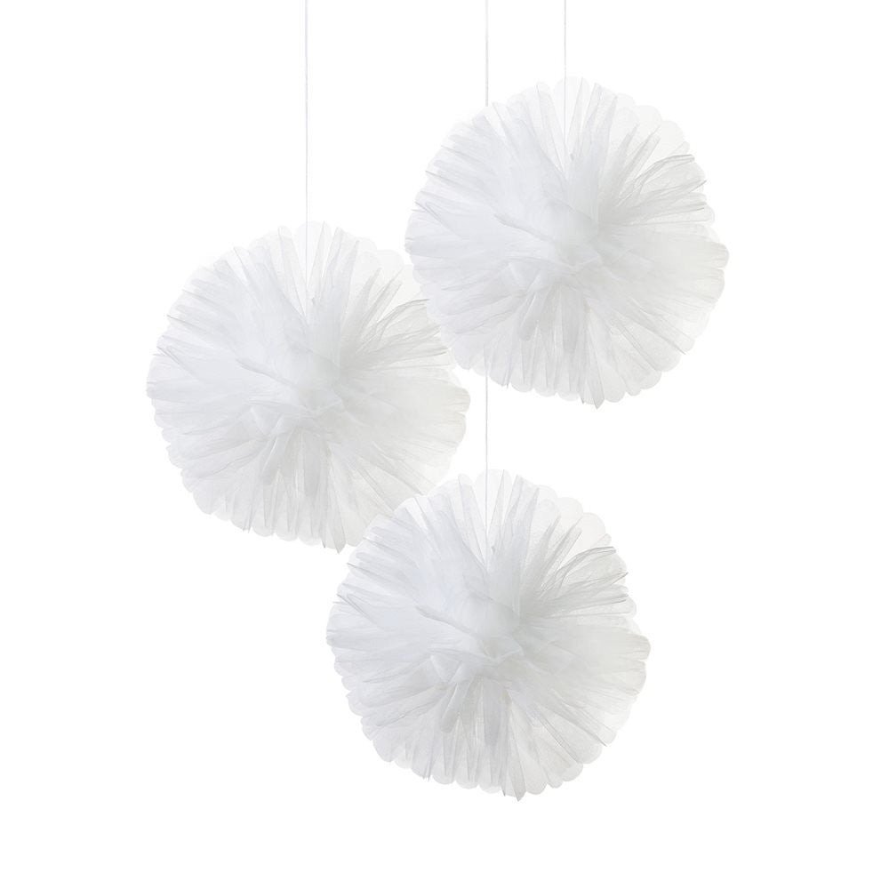 """We Heart White"" Tulle Pom Poms, TT-Talking Tables, Putti Fine Furnishings"