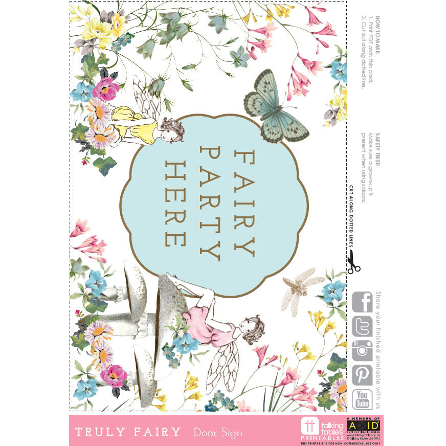 photograph relating to Free Printable Door Signs titled Certainly Fairy\