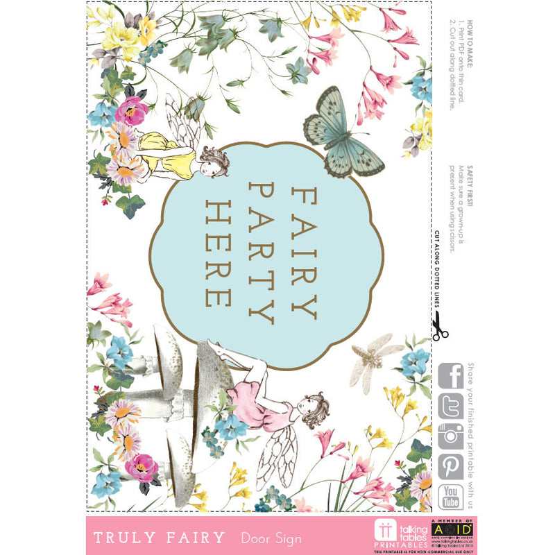 """Truly Fairy"" Free Printable - Door Sign, TT-Talking Tables, Putti Fine Furnishings"