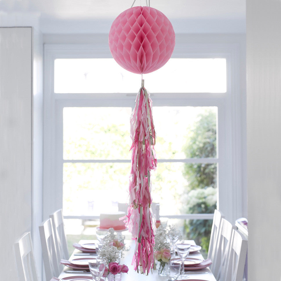 Decadent Decs Honeycomb Tasseled Decoration - Pink -  Decorations - Talking Tables - Putti Fine Furnishings Toronto Canada - 3