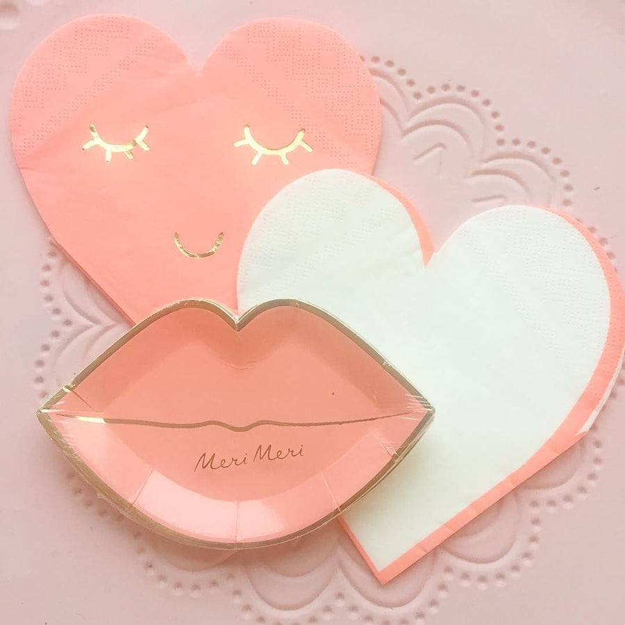 Meri Meri Coral Pink Lips Paper Plates - Canape, MM-Meri Meri UK, Putti Fine Furnishings