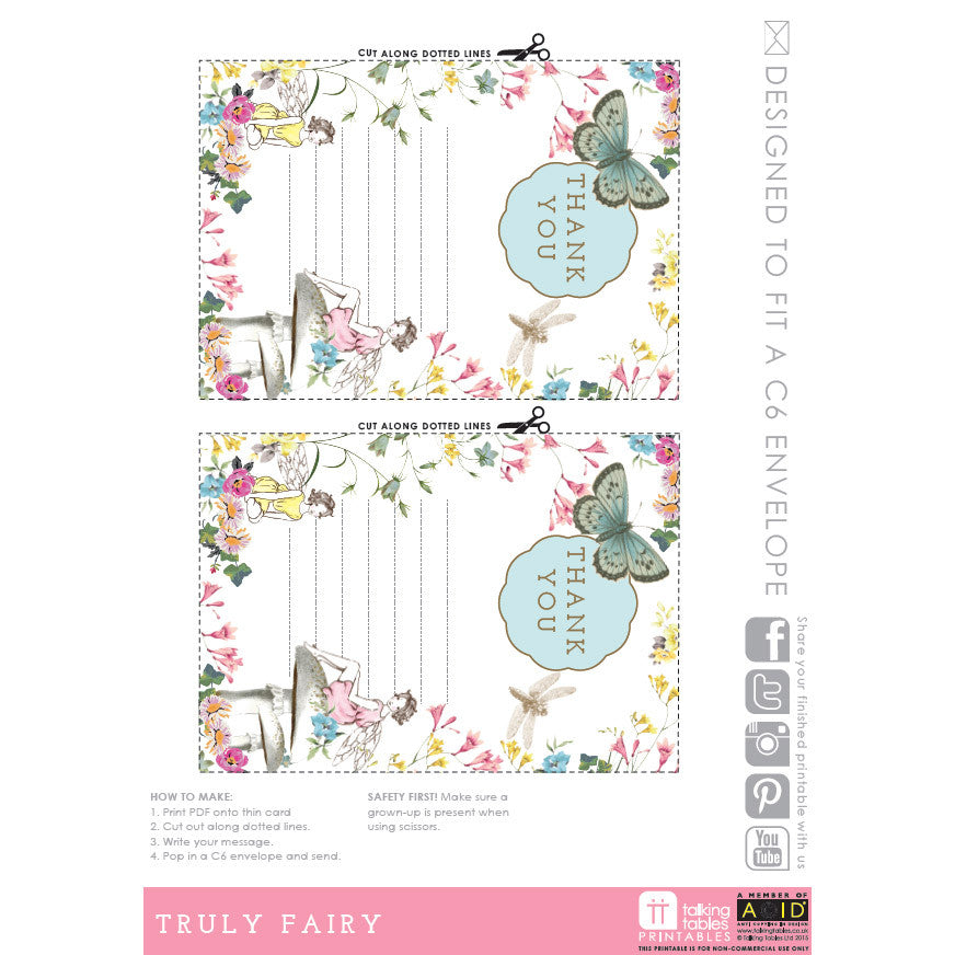 """Truly Fairy"" Free Printable - Thank You Cards, TT-Talking Tables, Putti Fine Furnishings"