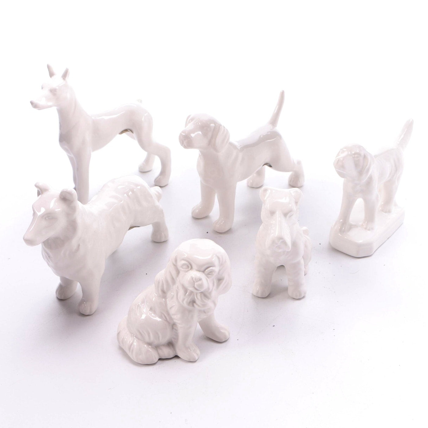 "Tozai ""Best in Show"" White Porcelain Dogs, TH-Tozai Home, Putti Fine Furnishings"