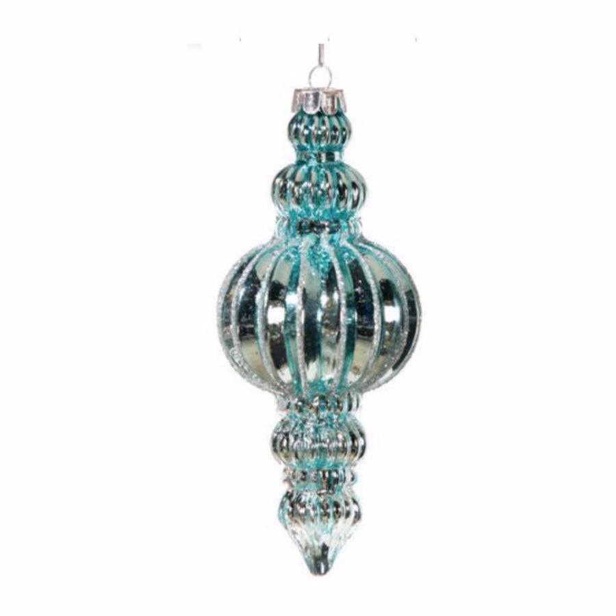Aqua Glass Finial Ornament