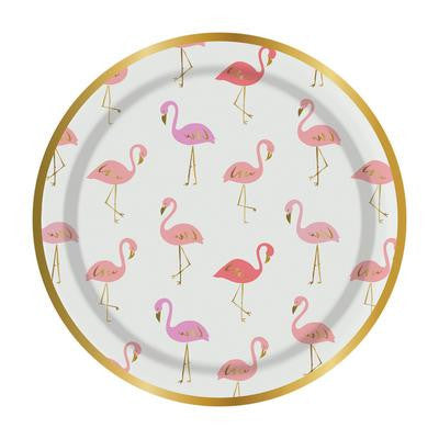 Pink Flamingo Paper Plates - Small