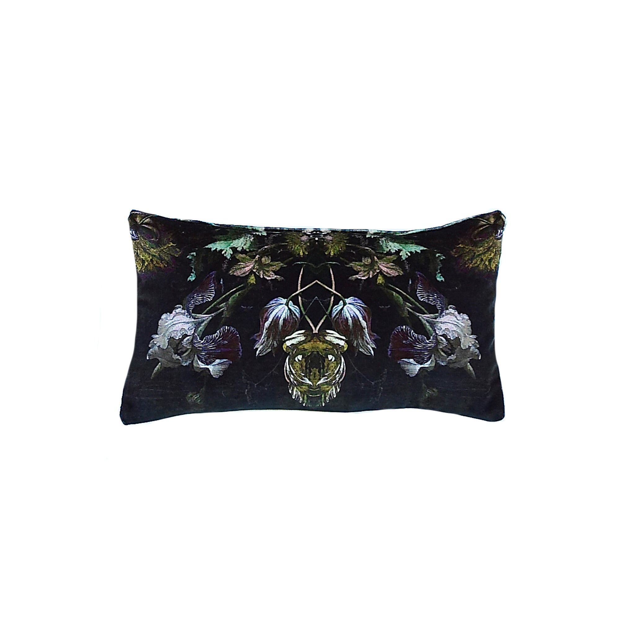 Floralisim Graphic Floral Velvet Cushion 40cm x 22cm, B&C-Boho & Co, Putti Fine Furnishings