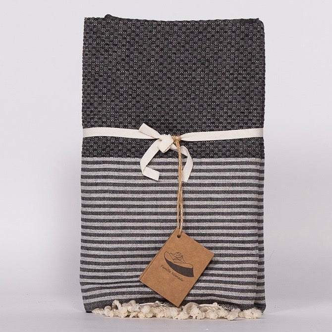Thin Stripe Fouta Towel - Black & Grey, FN-Famille Nomade, Putti Fine Furnishings
