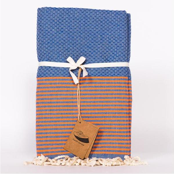 Thin Stripe Fouta Towel - Blue & Orange