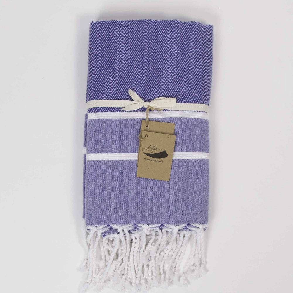 Herringbone Fouta Towel - Blue with White Stripe