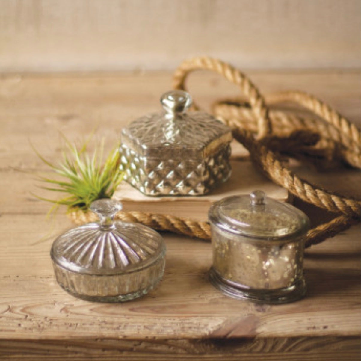 Silver Mercury Glass Jars with Lid, K&L- K&L Interiors, Putti Fine Furnishings