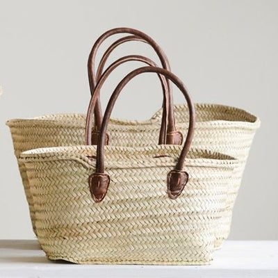 Hand-Woven Moroccan Baskets with Leather Handles, CCO-Creative Co-op - Design Home, Putti Fine Furnishings