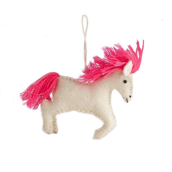 Felt Unicorn Ornament - Fuchsia