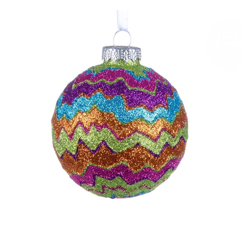 """Missoni"" Glitter Waves Glass Ornament, CT-Christmas Tradition, Putti Fine Furnishings"