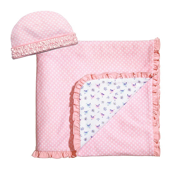 "Baby Dumpling Pink ""Little Birdie"" Receiving Blanket & Beanie"