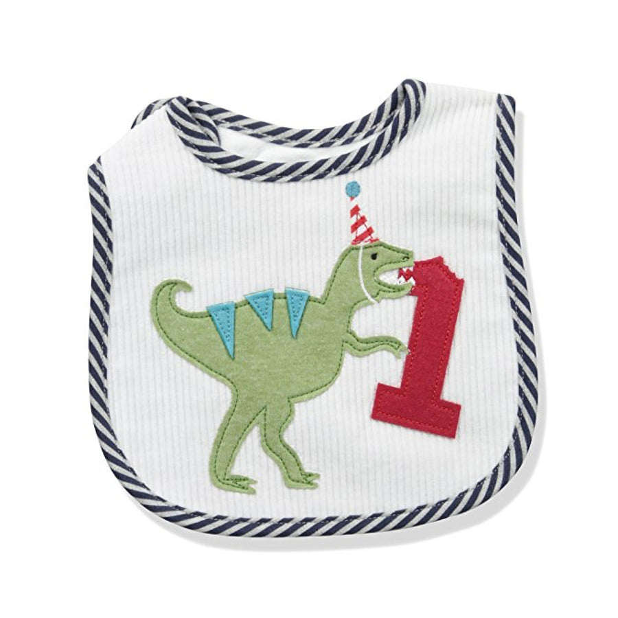 Mud Pie Birthday Dinosaur Applique Baby Bib