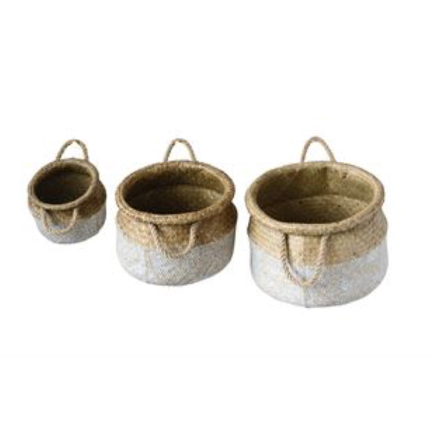 Round White and Natural Seagrass Baskets