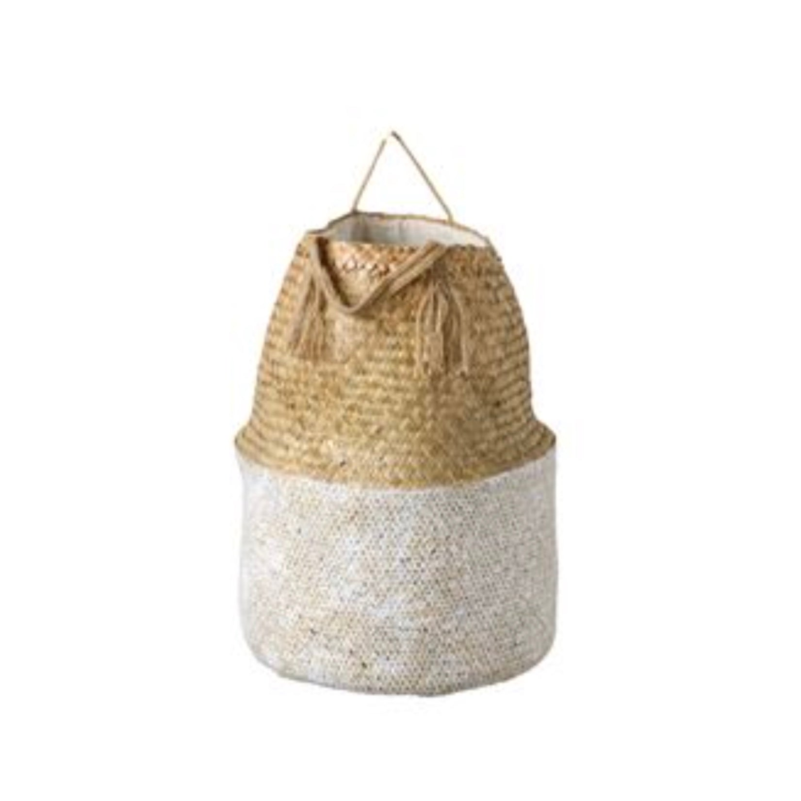 White and Natural Seagrass Baskets with Handles, CCO-Creative Co-op - Design Home, Putti Fine Furnishings