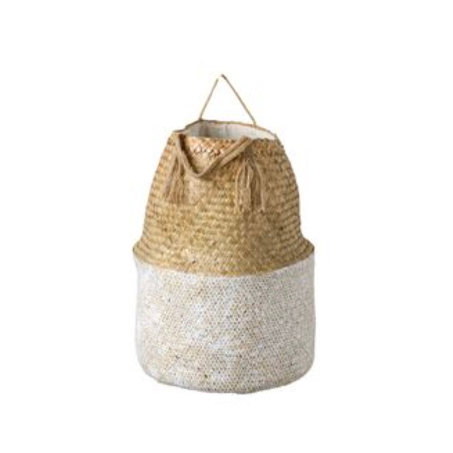 White and Natural Seagrass Baskets with Handles