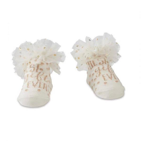 "Mud Pie ""Best Gift Ever"" Ruffle Baby Socks, MP-Mud Pie, Putti Fine Furnishings"