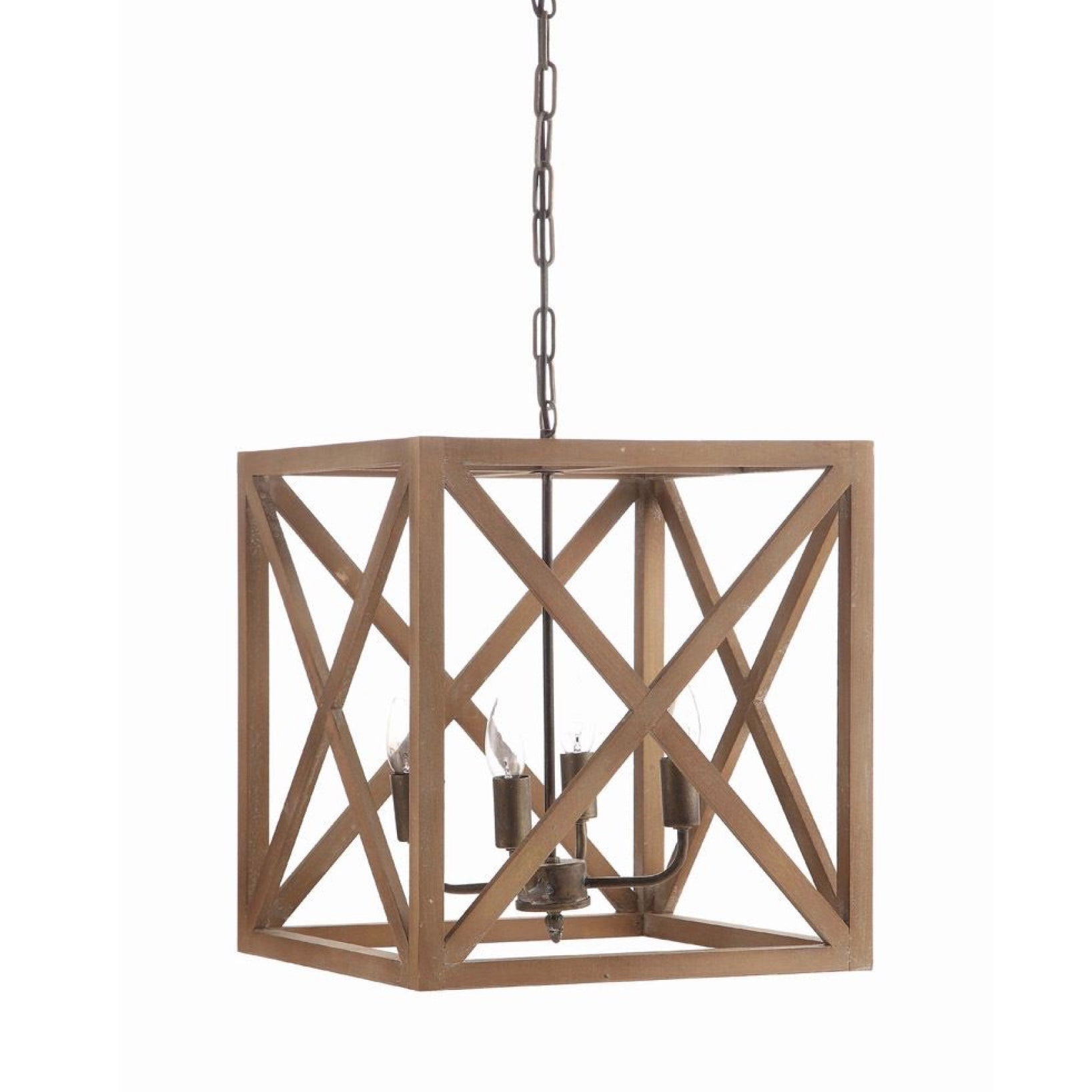 Metal and Wood Square Light Fixture, CCO-Creative Co-op - Design Home, Putti Fine Furnishings