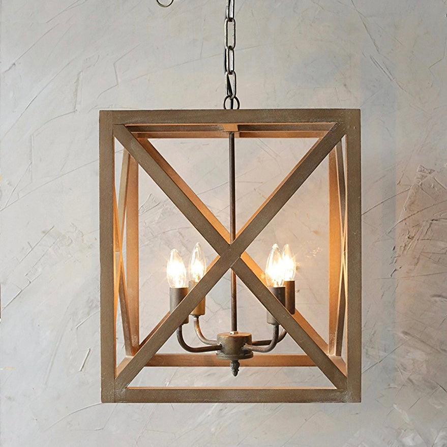 Metal and Wood Square Light Fixture