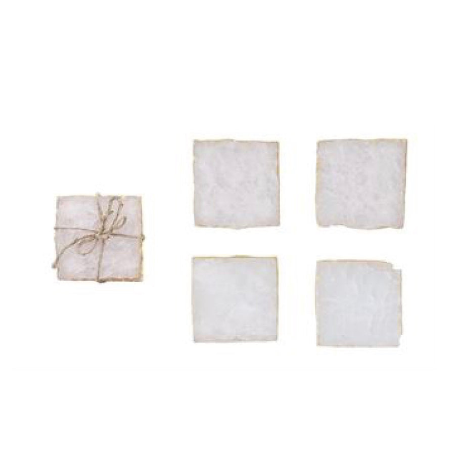 Square Pink Agate Coasters with Gold Leaf Edge - Set of 4