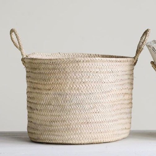 Natural Handwoven Moroccan Basket with Handles