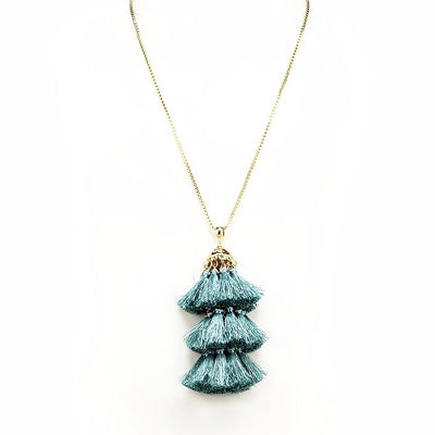 Long Necklace with Tiered Tassel - Mint, AC-Abbott Collection, Putti Fine Furnishings