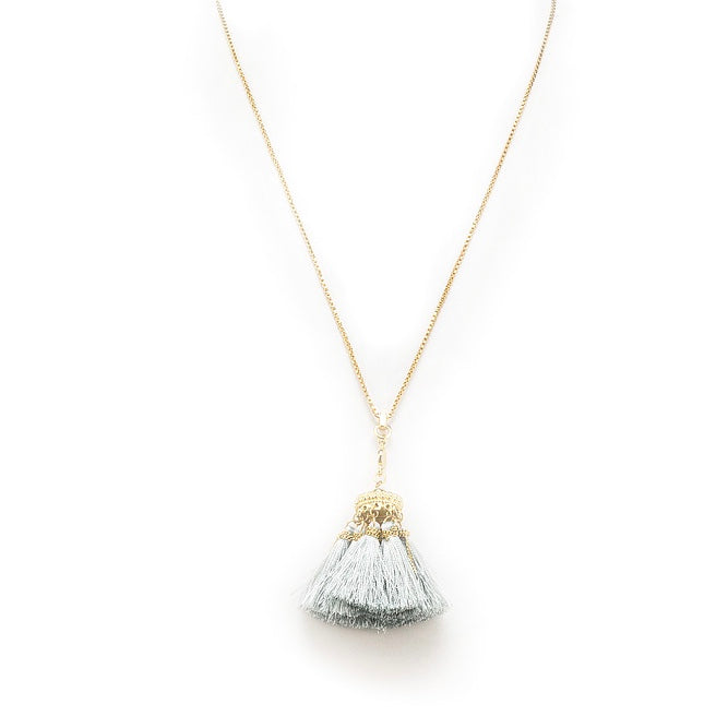 Chain Necklace with Tassel - Dove Grey, AC-Abbott Collection, Putti Fine Furnishings