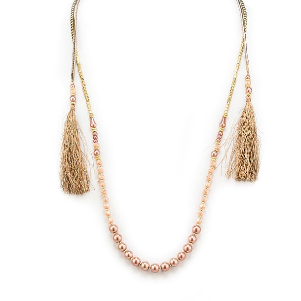 Double Strand Necklace with Pearls - Gold, AC-Abbott Collection, Putti Fine Furnishings