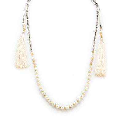 Double Strand Necklace with Pearls - Ivory, AC-Abbott Collection, Putti Fine Furnishings