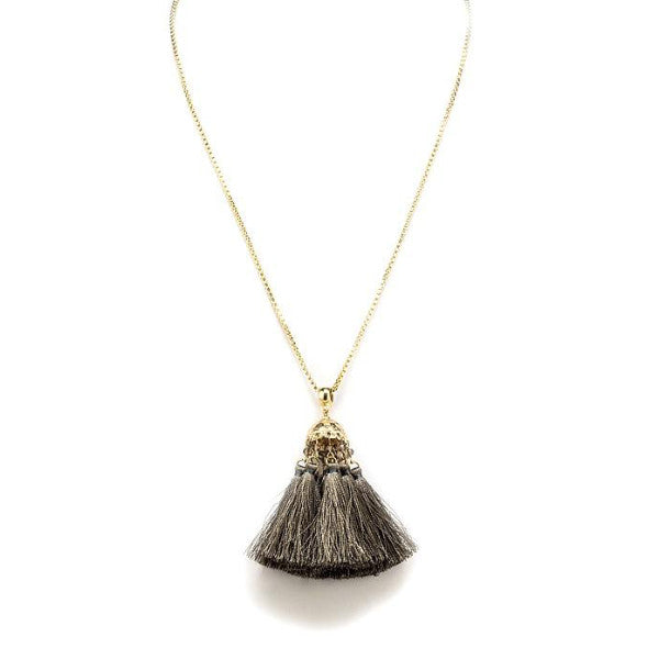 Necklace with Tassel - Grey