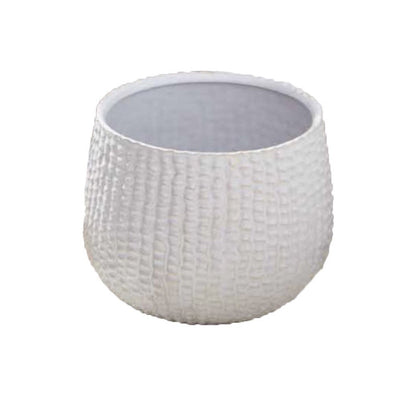 Tozai White Ceramic Sea Urchin Cachepot, TH-Tozai Home, Putti Fine Furnishings