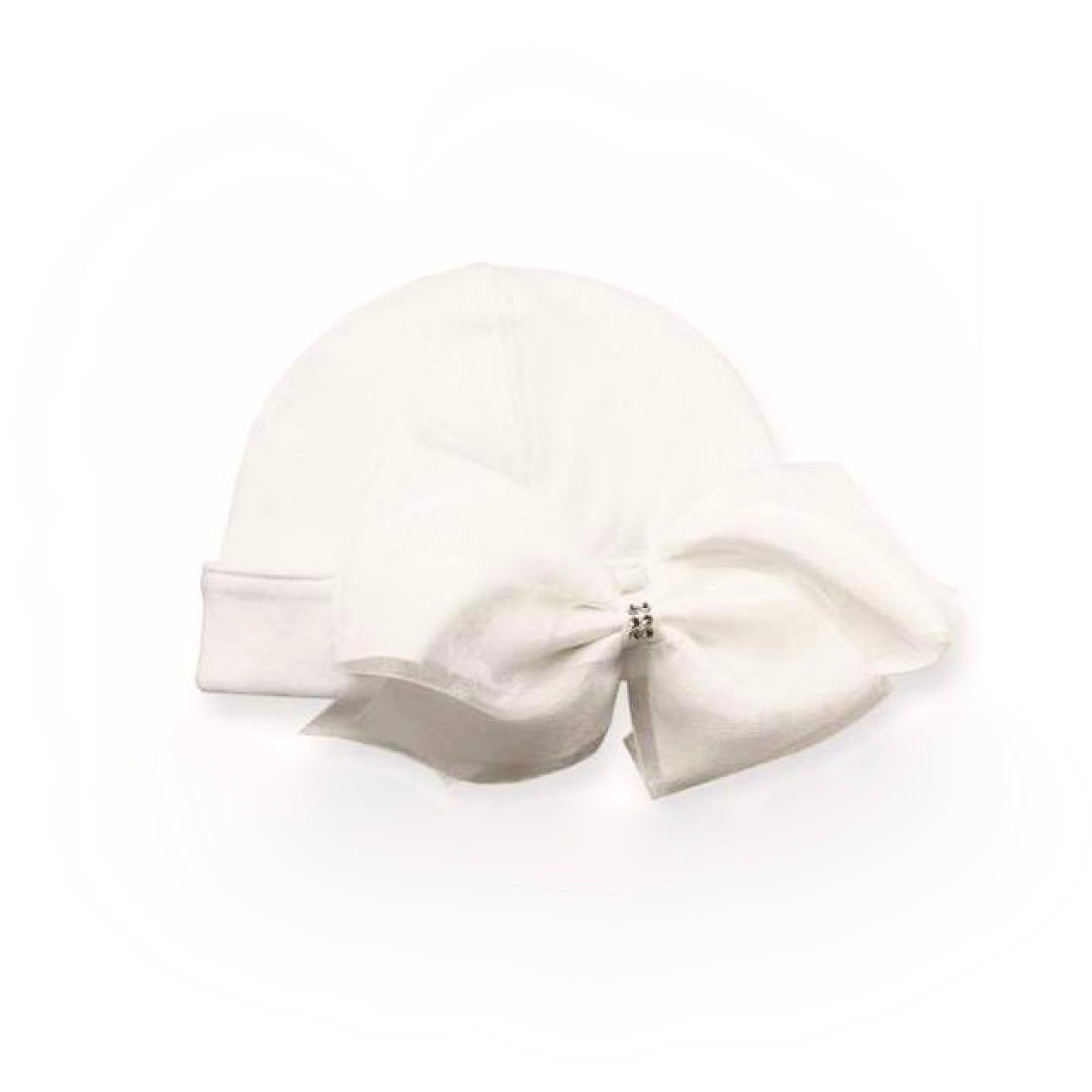 White Newborn Hat with Bow