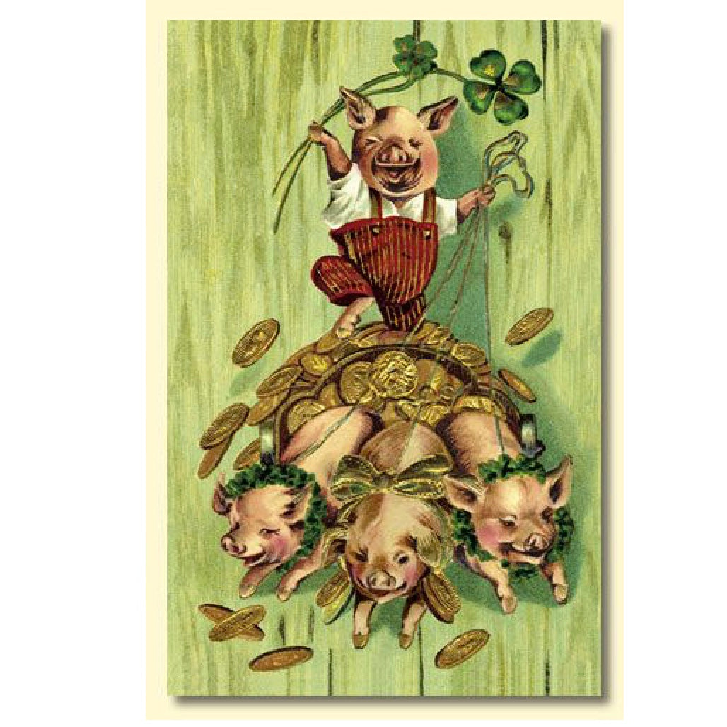 St Patrick's Day Lucky Pigs Greeting Card, OWC-Old World Christmas, Putti Fine Furnishings