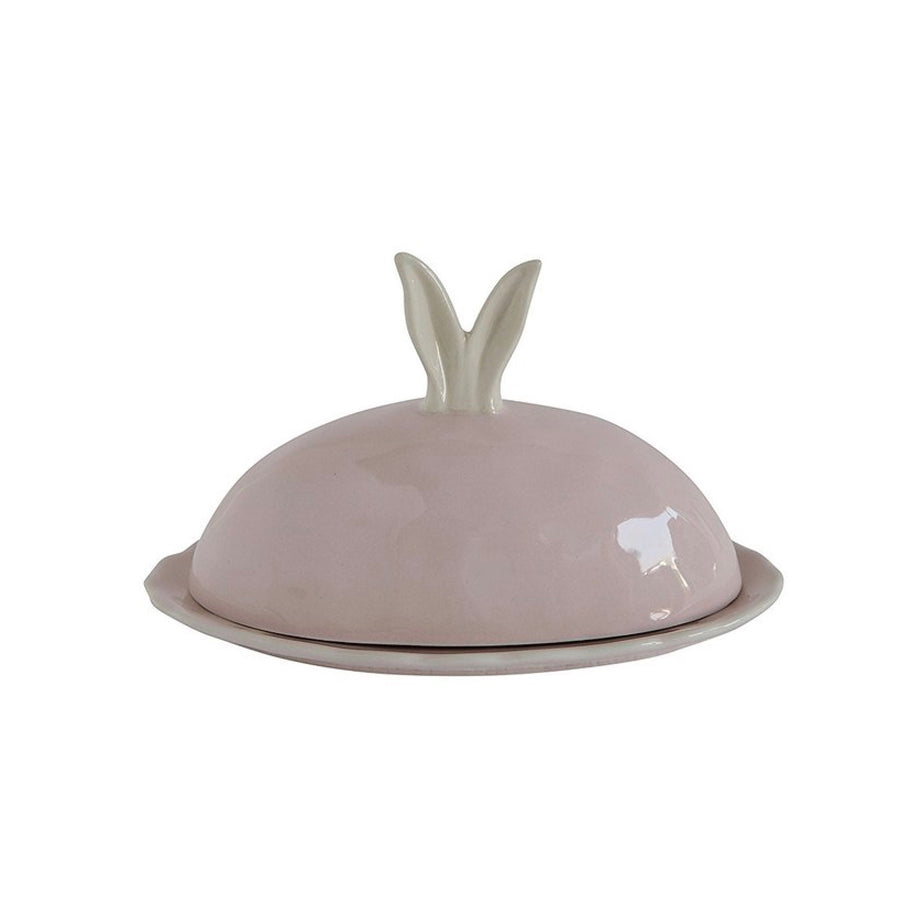 Pink Rabbit Ears Butter Dish