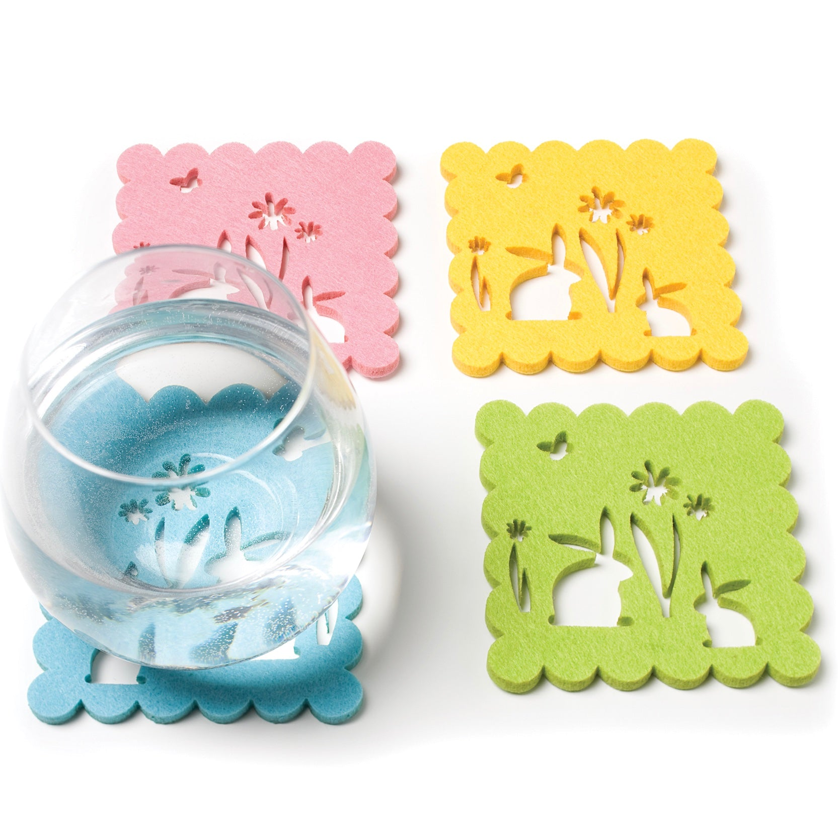 Felt Bunny Cut Out Coasters, AC-Abbott Collection, Putti Fine Furnishings