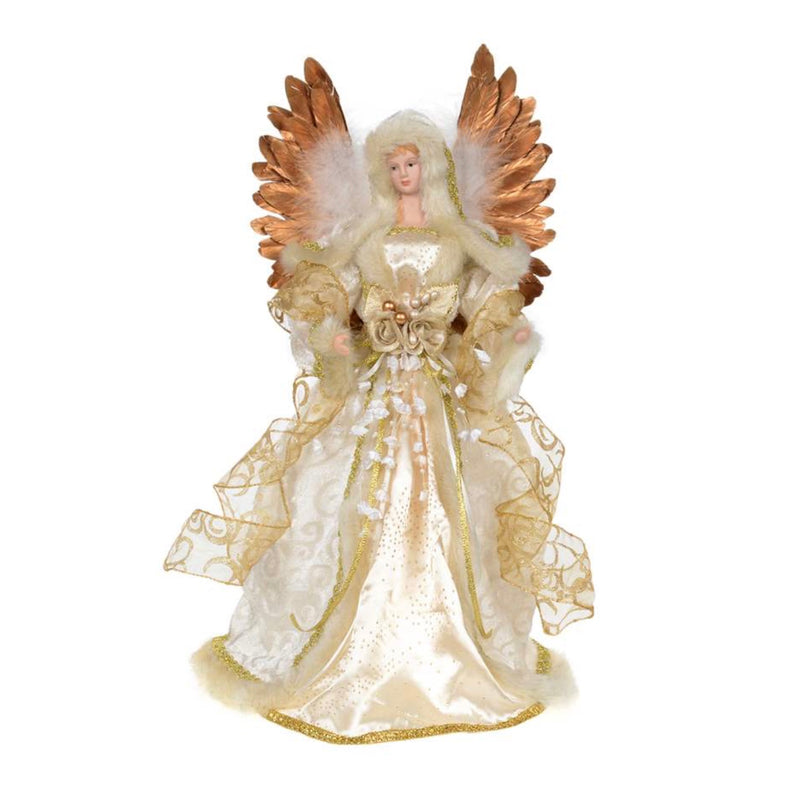 Ivory Angel with Gold Feather Wings Christmas Tree Topper |  Putti Fine Furnishings