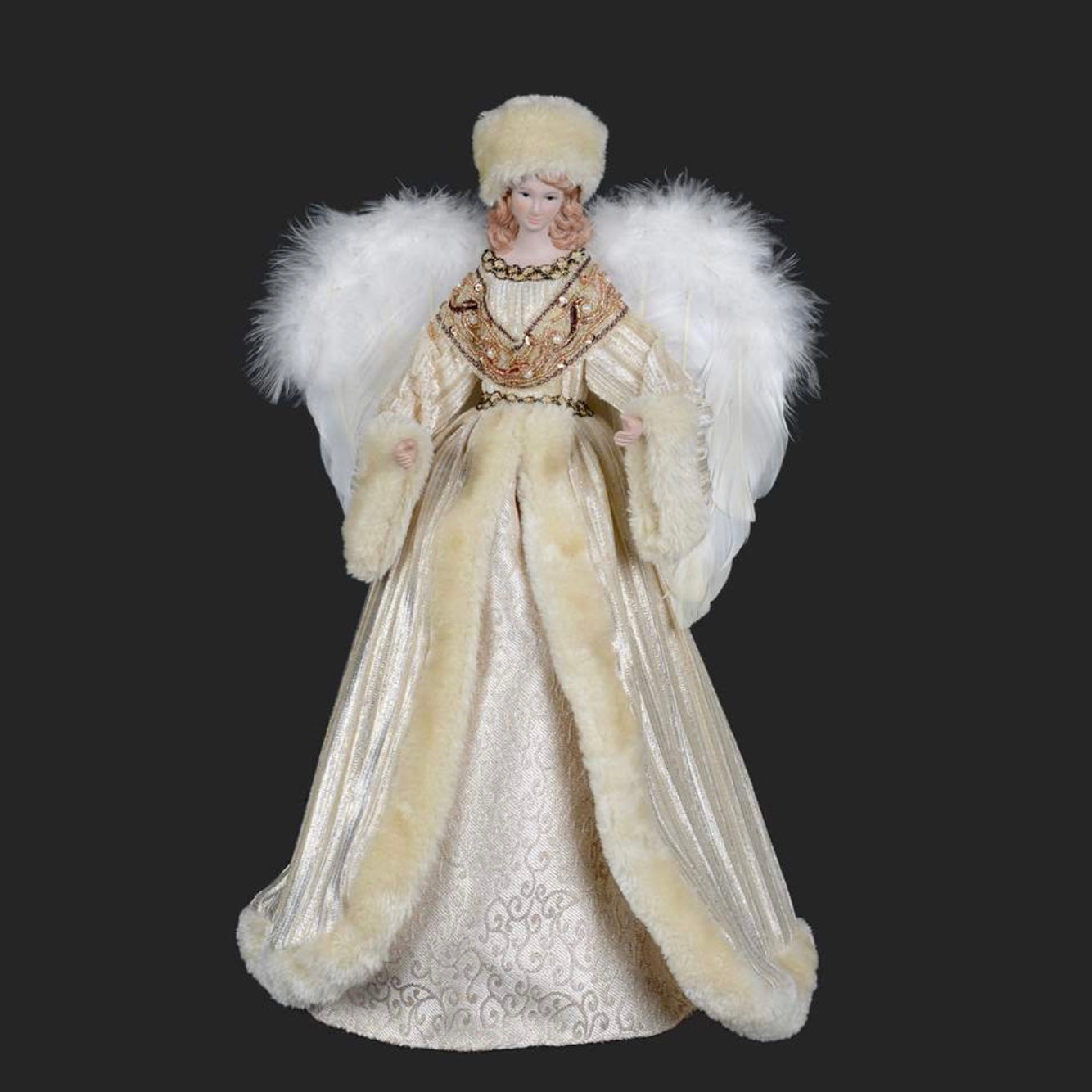 Angel with Fur Trimmed Cream Velvet Gown, CT-Christmas Tradition, Putti Fine Furnishings