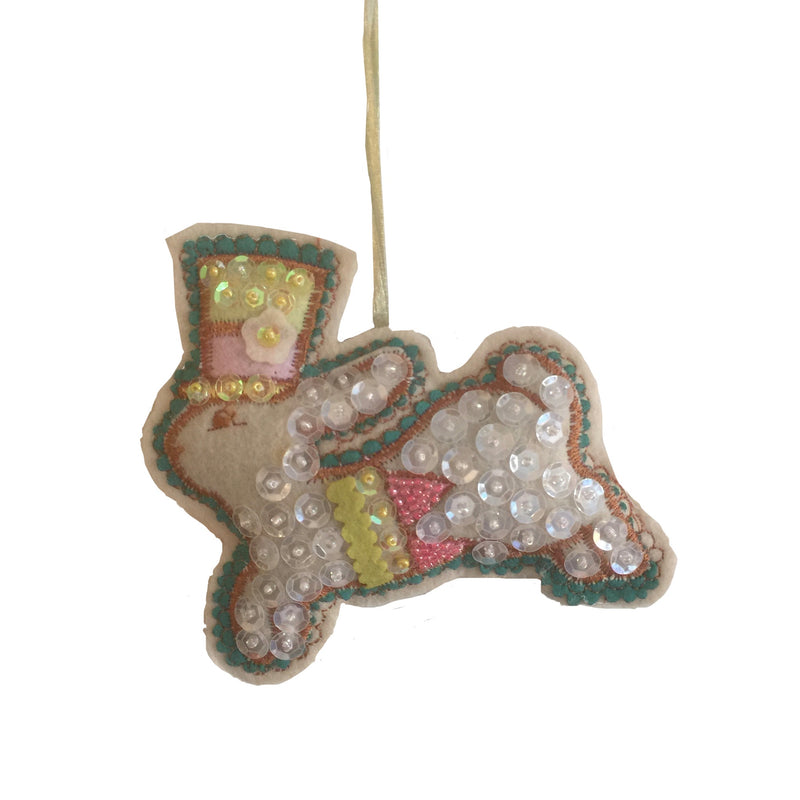 Katherine's Collection Sequin and Felt Bunny Ornament, Katherine's Collection, Putti Fine Furnishings